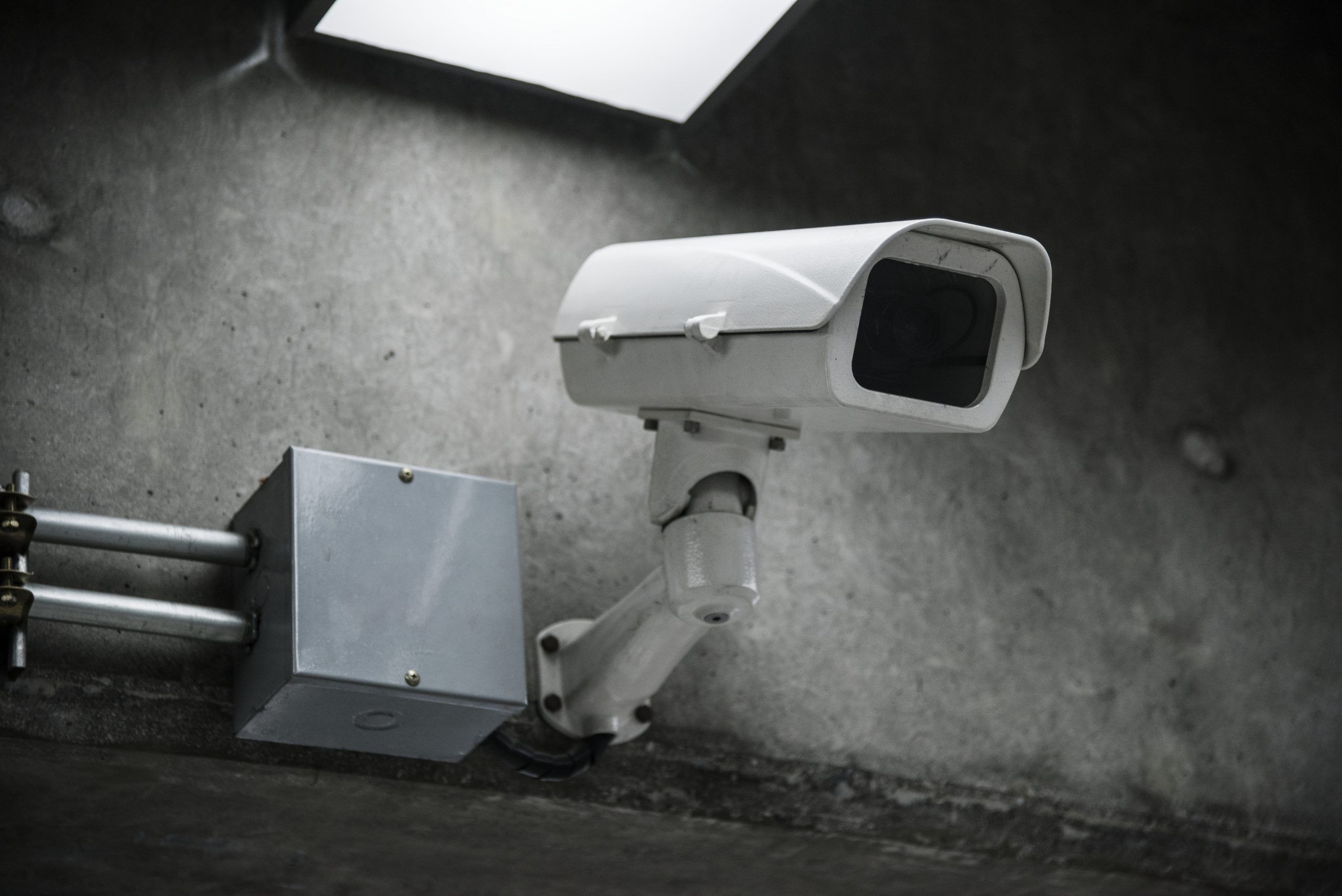 Closeup of CCTV camera on the wall